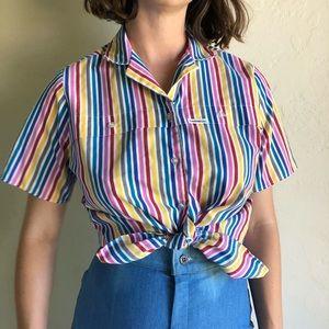 [vintage] rainbow striped button up blouse